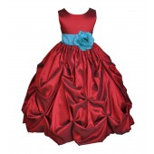 Apple / Pool Blue Satin Taffeta Pick-Up Bubble Flower Girl Dress 301S