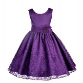 Purple Floral Lace Overlay Flower Girl Dress Formal Beauty 163S