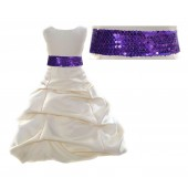 Ivory Satin Pick-Up Bubble Flower Girl Dress Purple Sequins 806mh