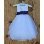 White/Purple Satin Bodice Shimmering Organza Flower Girl Dress J012
