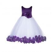 Purple Floral Rose Petals Tulle Flower Girl Dress 167T