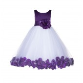 Purple Floral Rose Petals Tulle Flower Girl Dress 167S