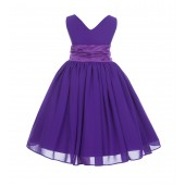 Purple V-Neck Yoryu Chiffon Flower Girl Dress Special Events 503