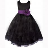 Black/Purple Satin Bodice Organza Skirt Flower Girl Dress 841T