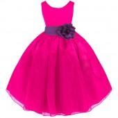 Fuchsia/Purple Satin Bodice Organza Skirt Flower Girl Dress 841T