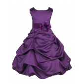 Purple Matching Satin Pick-Up Bubble Flower Girl Dress 808T