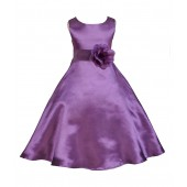 Purple/Purple A-Line Satin Flower Girl Dress Party Recital 821T
