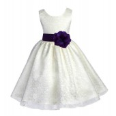 Ivory/Purple Floral Lace Overlay Flower Girl Dress Special Event 163S