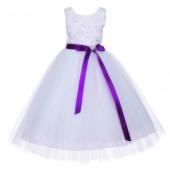 White Tulle 3D Floral Rose Purple Ribbon Rhinestone Flower Girl Dress 152R