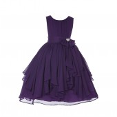 Purple Yoryu Chiffon Ruched Bodice Rhinestone Flower Girl Dress 162S