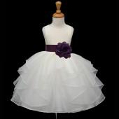 Ivory/Plum Satin Shimmering Organza Flower Girl Dress Wedding 4613S