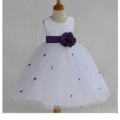 Purple Rosebuds Satin Tulle Flower Girl Dress Special Occasions 815S