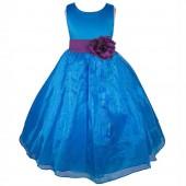 Royal Blue/Purple  Satin Bodice Organza Skirt Flower Girl Dress 841T
