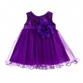 Purple Glitter Sequin Tulle Flower Girl Dress Formal Princess B-011NF