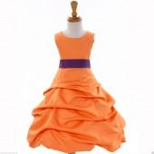 Orange/Purple Satin Pick-Up Bubble Flower Girl Dress Halloween 808T