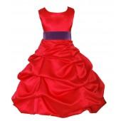Red/Purple Satin Pick-Up Bubble Flower Girl Dress Christmas 806S