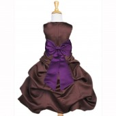 Brown/Purple Satin Pick-Up Bubble Flower Girl Dress Occasions 808T