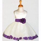 Ivory/Purple Rose Petals Tulle Flower Girl Dress Pageant 305S