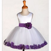White/Purple Rose Petals Tulle Flower Girl Dress Wedding 305S