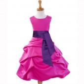 Fuchsia/Purple Satin Pick-Up Bubble Flower Girl Dress V2 806S