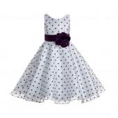 White / Purple / Purple Organza Polka Dot V-Neck Flower Girl Dress 184T