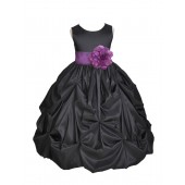 Black/Purple Satin Taffeta Pick-Up Bubble Flower Girl Dress 301S