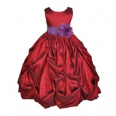 Apple / Purple Satin Taffeta Pick-Up Bubble Flower Girl Dress 301S