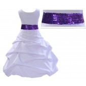 White Satin Pick-Up Bubble Flower Girl Dress Purple Sequins 806mh
