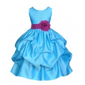 Turquoise/Raspberry Satin Pick-Up Flower Girl Dress Receptions 208T