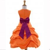 Orange/Raspberry Satin Pick-Up Bubble Flower Girl Dress Halloween 808T
