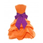 Orange/Raspberry Satin Pick-Up Bubble Flower Girl Dress Halloween 806S