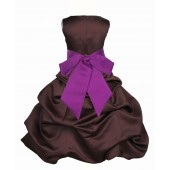 Brown/Raspberry Satin Pick-Up Bubble Flower Girl Dress Occasions 806S