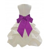 Ivory/Raspberry Satin Pick-Up Bubble Flower Girl Dress Bridesmaid 806S