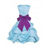 Spa Blue/Raspberry Satin Pick-Up Bubble Flower Girl Dress 806S