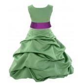 Clover Green/Raspberry Satin Pick-Up Bubble Flower Girl Dress 806S