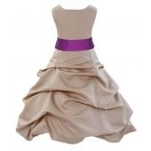 Champagne/Raspberry Satin Pick-Up Bubble Flower Girl Dress Princess 806S
