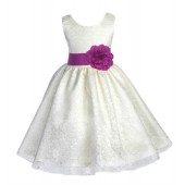 Ivory/Raspberry Floral Lace Overlay Flower Girl Dress Special Event 163S