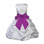 White/Raspberry Satin Pick-Up Bubble Flower Girl Dress V2 806S