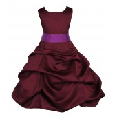 Burgundy/Raspberry Satin Pick-Up Bubble Flower Girl Dress Event 806S