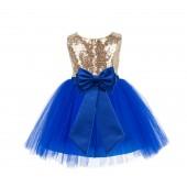 Gold/Royal blue/Royal blue Glitter Sequin Tulle Flower Girl Dress Toddler Dresses 123T