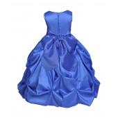 Royal Blue/Royal Blue Satin Taffeta Pick-Up Bubble Flower Girl Dress 301S