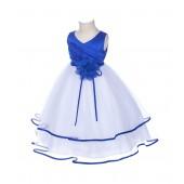 Royal Blue Floral Pin Ruffle V-Neck Tulle Flower Girl Dress J115NF