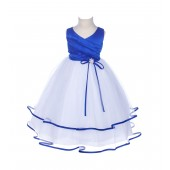 Royal Blue Rhinestones Ruffle V-Neck Tulle Flower Girl Dress J115R