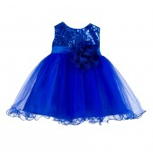 Royal Blue Glitter Sequin Tulle Flower Girl Dress Formal Princess B-011NF
