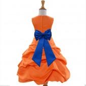 Orange/Royal Blue Satin Pick-Up Bubble Flower Girl Dress Halloween 808T