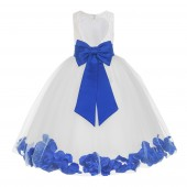 White / Royal Blue Floral Lace Heart Cutout Flower Girl Dress with Petals 185T