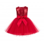 Red Sparkling Sequins Mesh Tulle Flower Girl Dress Stylish 124