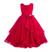 Red Yoryu Chiffon Ruched Bodice Rhinestone Flower Girl Dress 162S