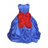 Royal Blue/Red Satin Taffeta Pick-Up Bubble Flower Girl Dress 301S