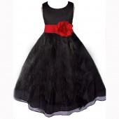Black/Red Satin Bodice Organza Skirt Flower Girl Dress 841T